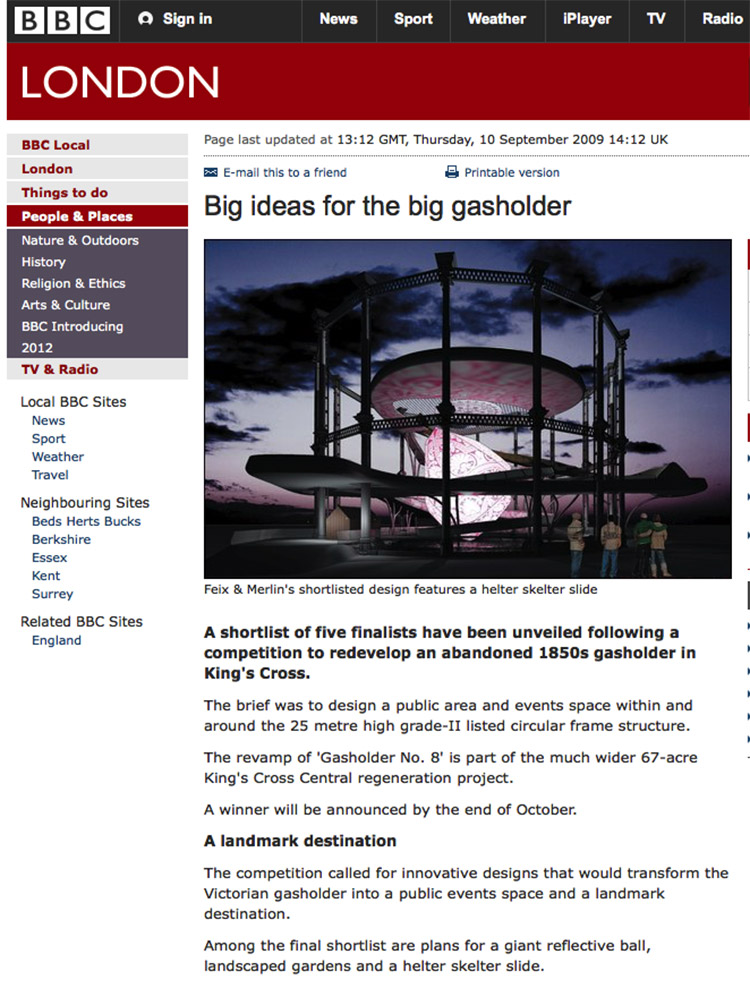Feix&Merlin Architects Gasholder No.9 – BBC London, September 2009