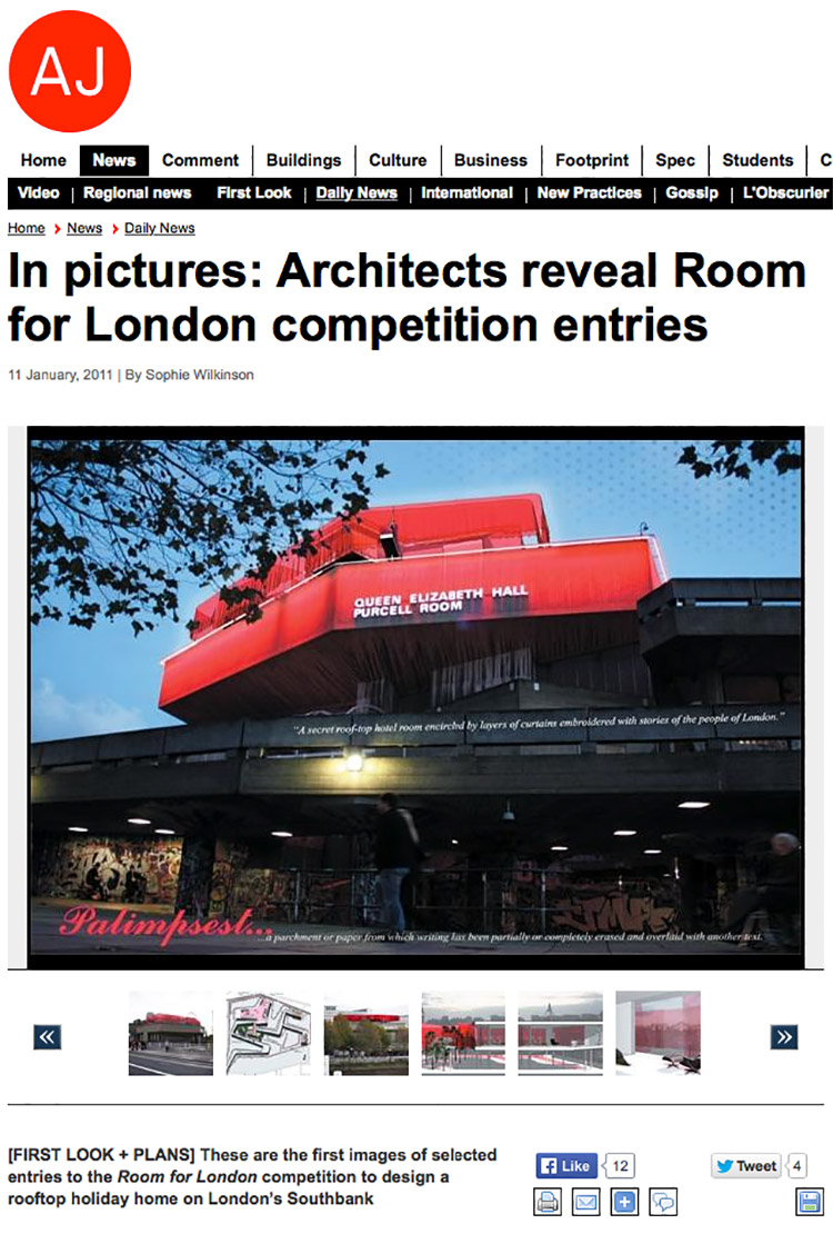 Feix&Merlin Architects A Room for London – The Architects Journal, January 2011