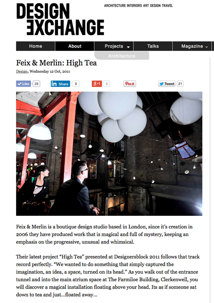 Feix&Merlin Architects High Tea – Desiginersblock, January 2011