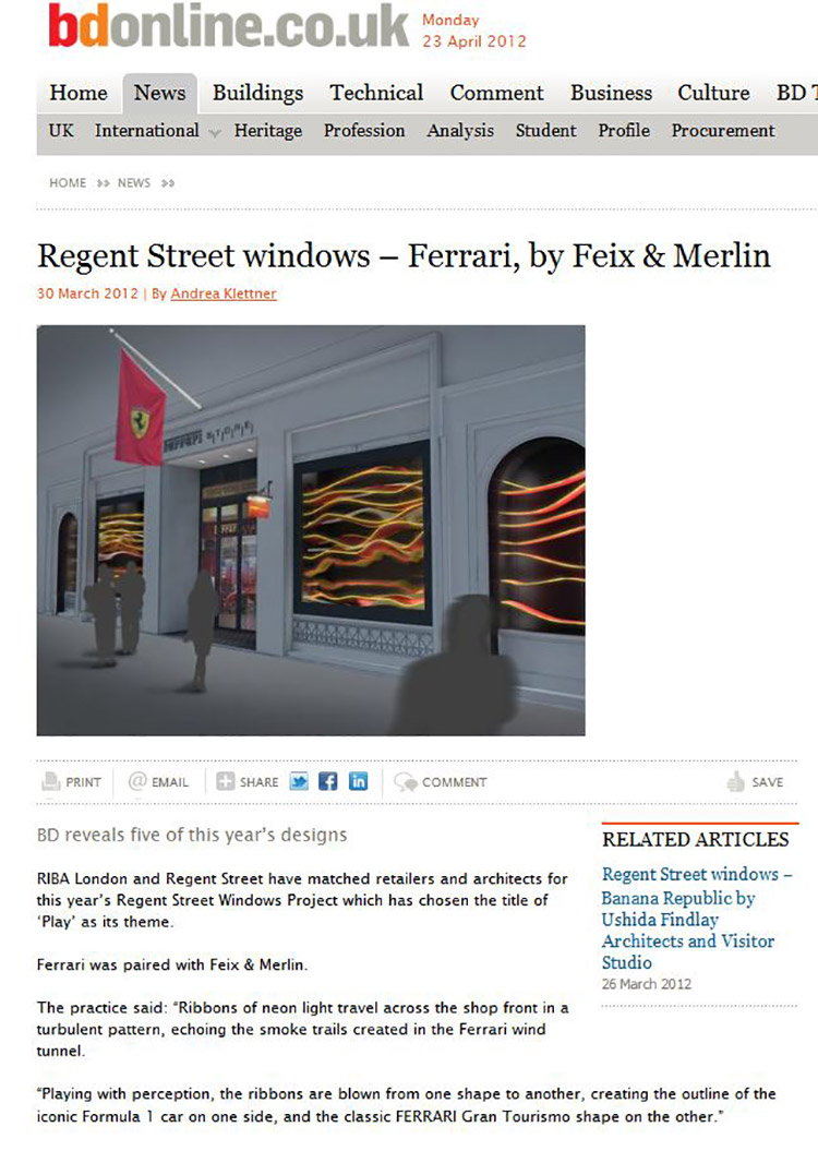 Feix&Merlin Architects Ferrari – BD Online, March 2012