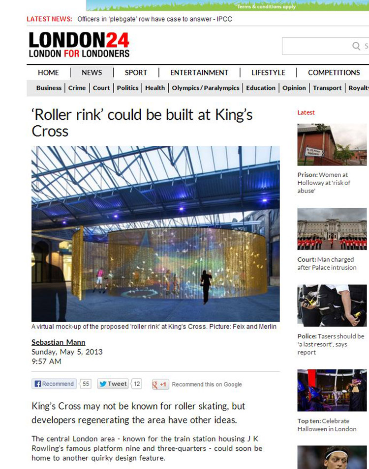 Feix&Merlin Architects Kings Cross Roller Rink – London24, May 2013