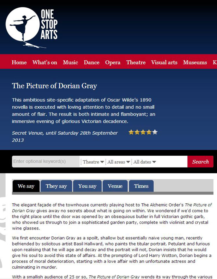 Feix&Merlin Architects The Picture of Dorian Gray – One Stop Arts, August 2013