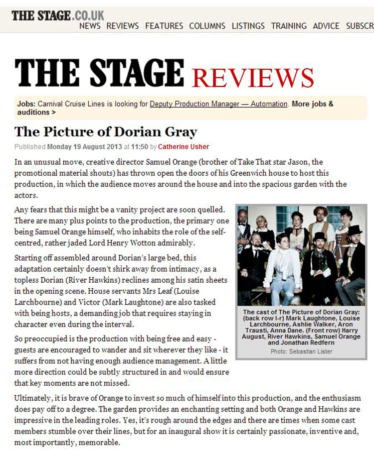 Feix&Merlin Architects The Picture of Dorian Gray – The Stage, August 2013