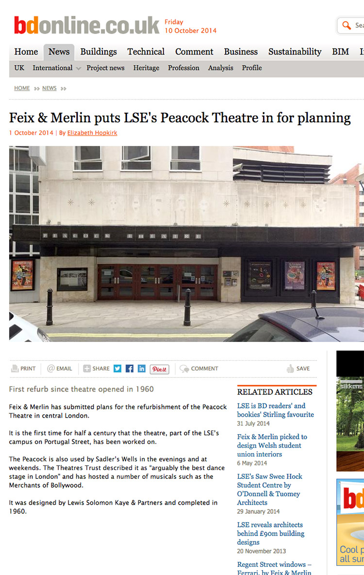 Feix&Merlin Architects Peacock Theatre – BD Online, October 2014