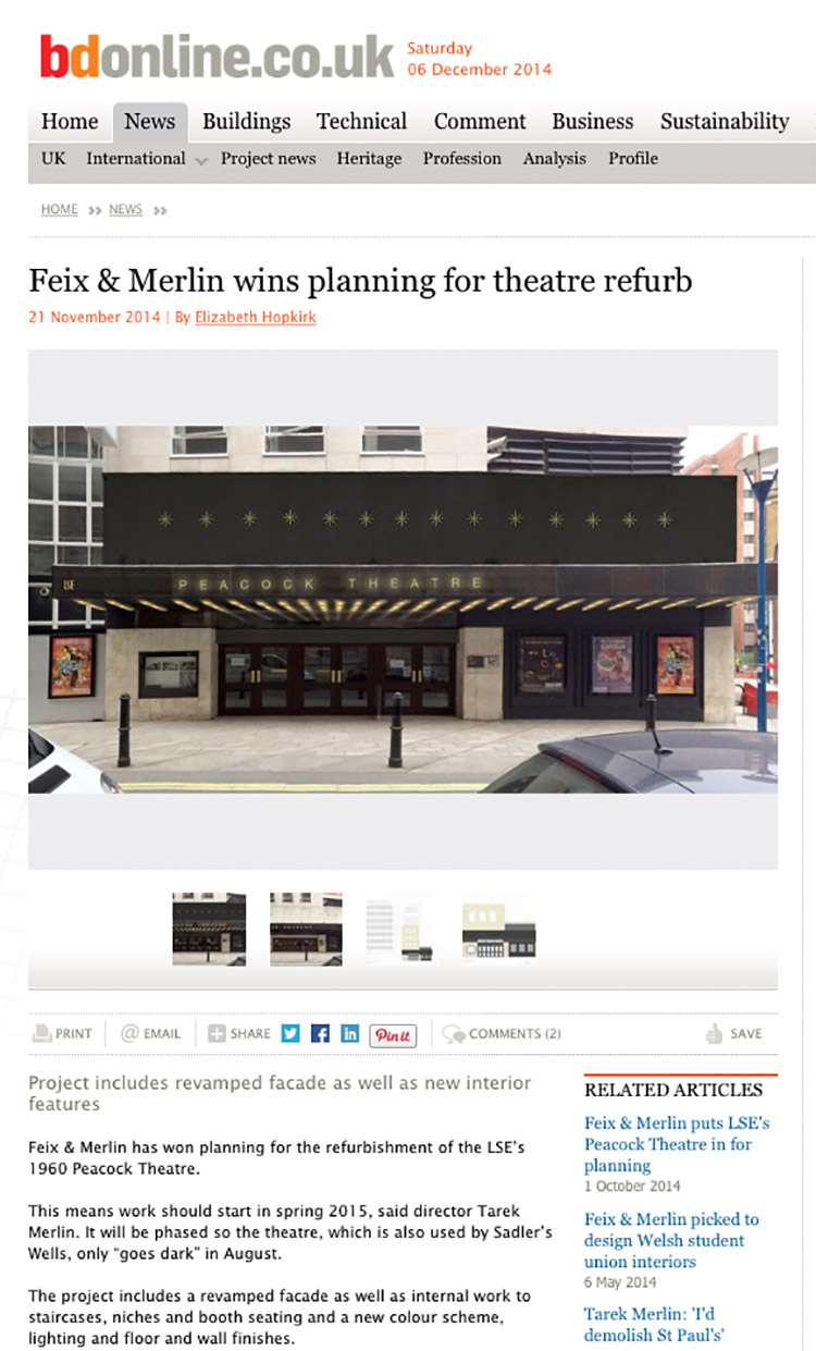 Feix&Merlin Architects Peacock Theatre – BD Online, November 2014