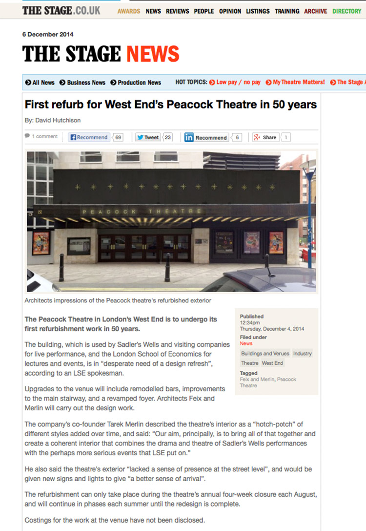 Feix&Merlin Architects Peacock Theatre – The Stage News, December 2014