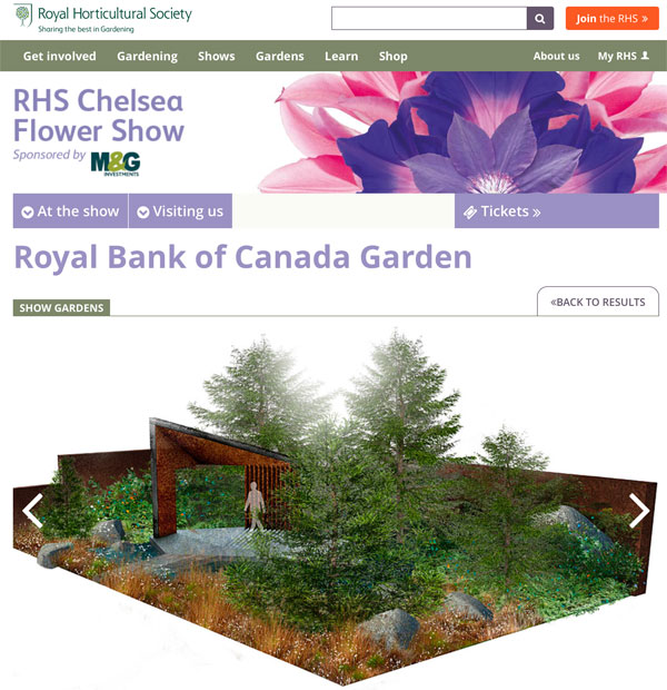 F&M's pavilion for Chelsea Flower Show featured by the Royal Horticultural Society