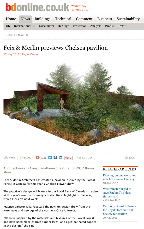 Feix&Merlin Architects Feix&Merlin's Chelsea Pavilion in BD