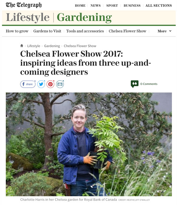 Chelsea Flower Show 2017 featured in the Telegraph