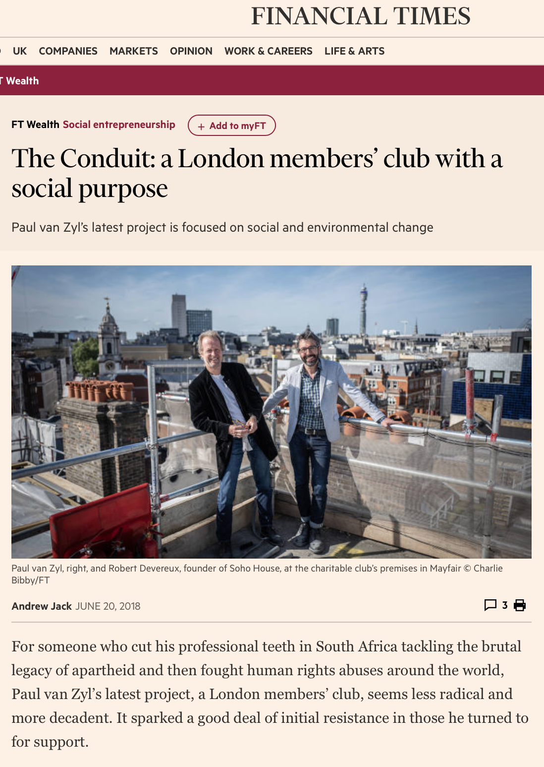 The Conduit in the FT